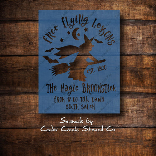 Halloween Stencil, Free Flying Lessons Stencil, Witch Stencil, reusable stencil, diy craft stencil, sign making stencil, diy halloween decor - Cedar Creek Stencil Co.