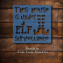 Load image into Gallery viewer, Elf Surveillance Stencil, Christmas Stencil, Reusable Holiday Stencil, Elf Stencil, Elf Legs, Craft Stencil, Paint Stencil, Sign Making - Cedar Creek Stencil Co.