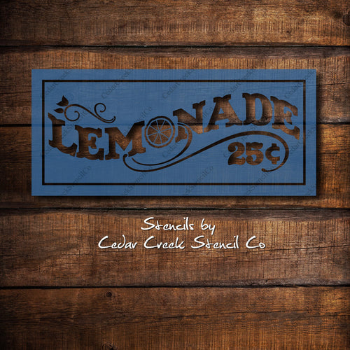 Vintage Style Lemonade Stencil, Reusable 7mil mylar stencil, wood sign stencil, Lemonade stand stencil, Farmhouse Stencils, craft stencil - Cedar Creek Stencil Co.