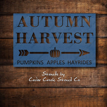 Load image into Gallery viewer, Autumn Harvest sign stencil, pumpkins apples hayrides stencil, Fall Stencil, Craft Stencil, mylar Wood Sign Stencil, DIY Fall Decor Stencil - Cedar Creek Stencil Co.