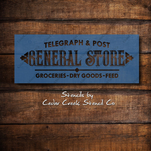 Vintage Style General Store Sign Stencil, Reusable Stencil, Washable Stencil, Primitive Stencil, Sign Making Stencil,Paint  Craft Stencil, - Cedar Creek Stencil Co.