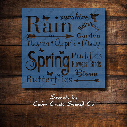 Spring Word Typography Stencil, Spring Word Collage, Reusable Stencil, Spring Stencil, Easter Stencil, Craft Stencil, Painte Stencil - Cedar Creek Stencil Co.