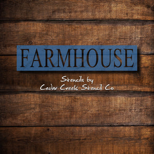 Farmhouse word stencil, reusable 7mil mylar stencil, diy craft stencil, sign stencil, pillow stencil, farmhouse stencil, paint stencil - Cedar Creek Stencil Co.