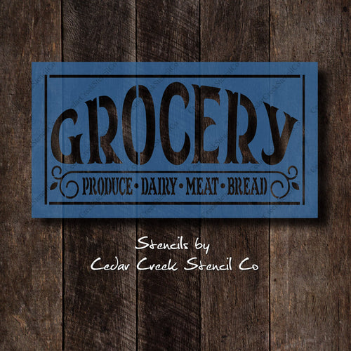 Vintage Style Grocery Sign Stencil, Reusable Stencil, Washable Stencil, Primitive Stencil, Farm Stencil, Sign Making Stencil, Craft Stencil - Cedar Creek Stencil Co.