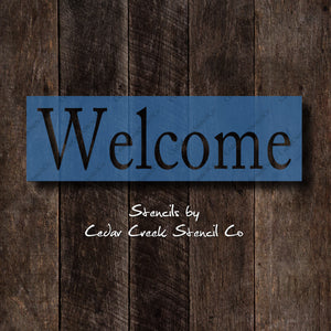 Welcome Stencil, Reusable 7mil mylar stencil, stencil for signs, pillow stencil, paint stencil, chalk stencil, diy craft stencil - Cedar Creek Stencil Co.