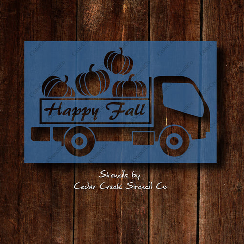 Happy Fall Pumpkin Truck Stencil, Reusable mylar stencil, Stencil for crafts and sign making, Fall and autumn stencil, Thanksgiving stencil - Cedar Creek Stencil Co.
