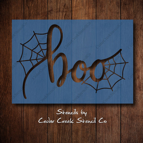 Halloween Stencil, Boo with spider webs stencil, Reusable Stencil, Craft Stencil, Paint Stencil, Sign Making Stencil, DIY Halloween decor - Cedar Creek Stencil Co.