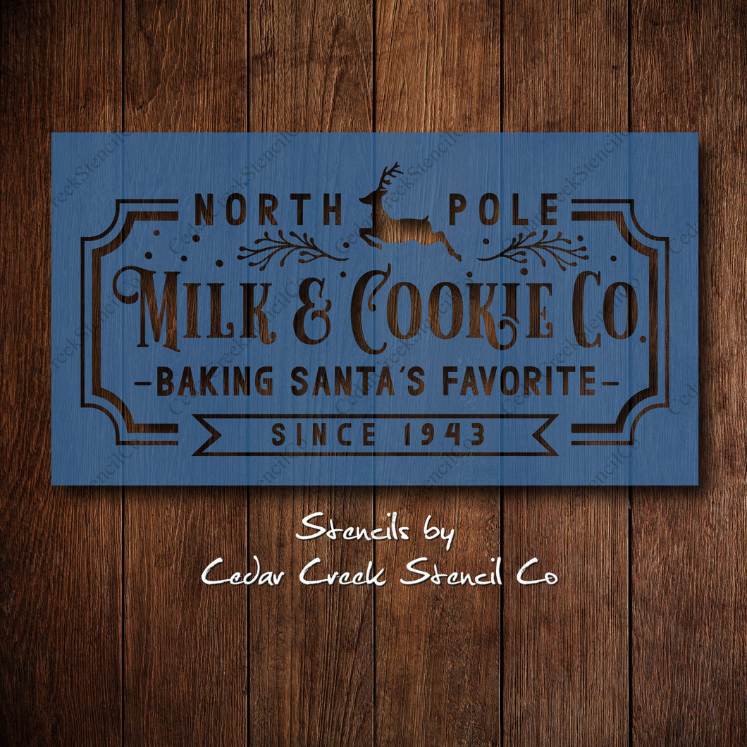 Milk and cookie stencil, Vintage sign stencil, Santa's cookies Reusable  stencil, Craft stencil for sign making, DIY Christmas decor - Cedar Creek Stencil Co.
