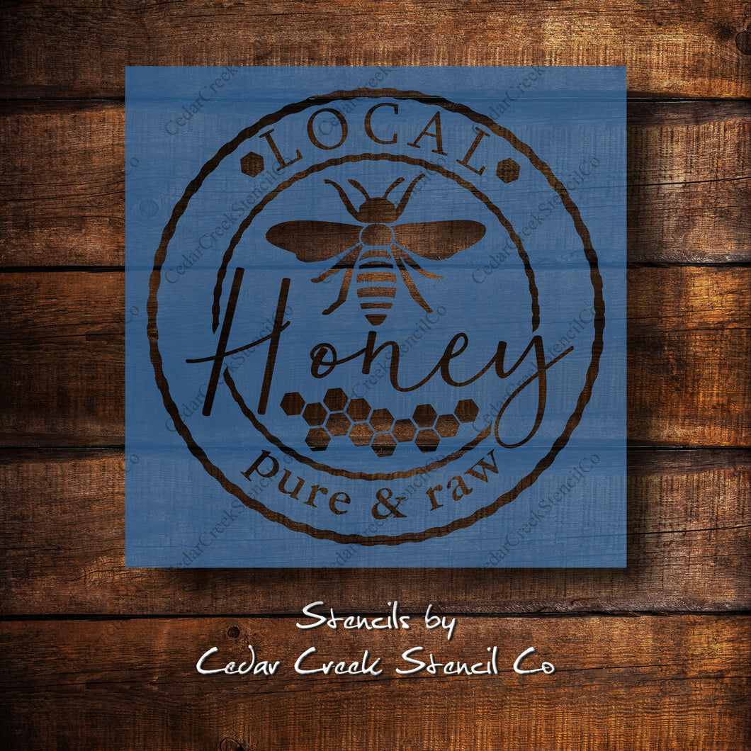 Local honey stencil, reusable honey bee craft stencil for sign making, Farmhouse stencil, washable stencil, fabric stencil, Bee stencil