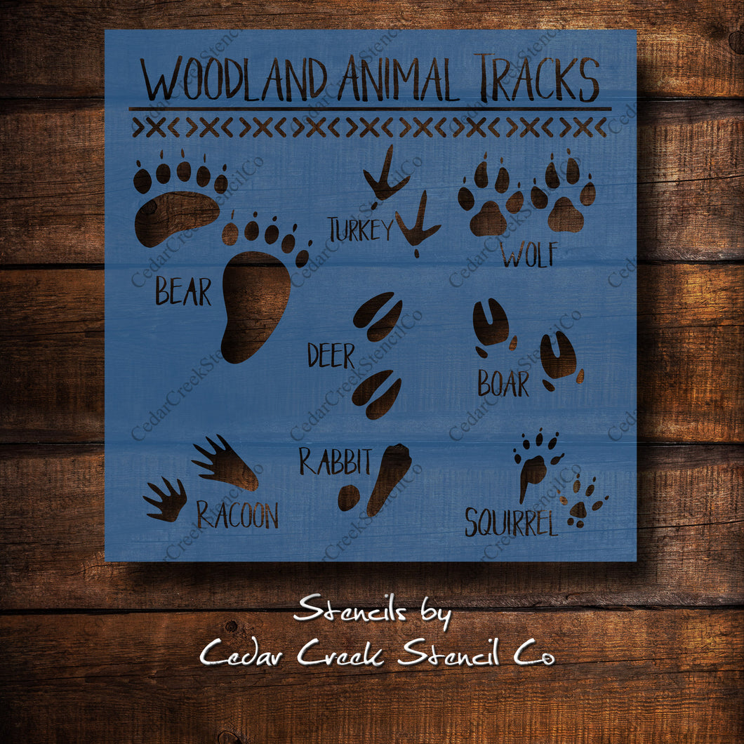 Woodland Animal Tracks Stencil