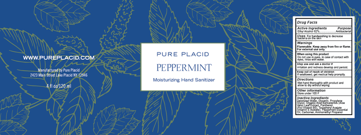 Peppermint Hand Sanitizer - Active Ingredient  62% ETHYL ALCOHOL - 2OZ - Pure Placid