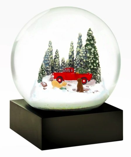 Red Truck w/ Dogs Snow Globe - CoolSnowGlobes - Pure Placid