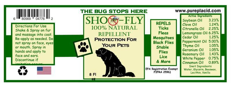 Shoo-Fly Bug Repellent for Dogs and Pets - Pure Placid