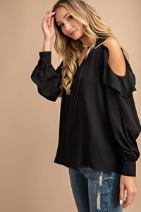 Ruffle Cold Shoulder Blouse - Black