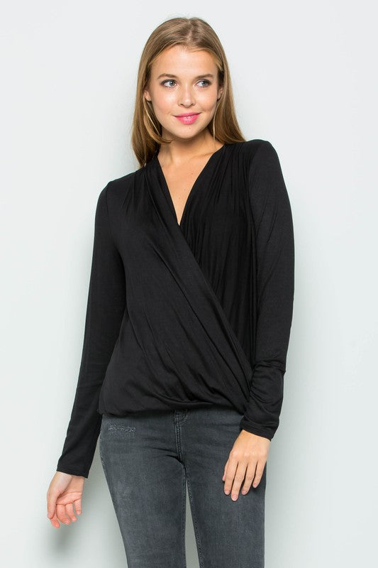 Long Sleeve Wrap Top - Black