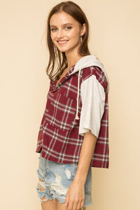 Button Down Hoodie Top