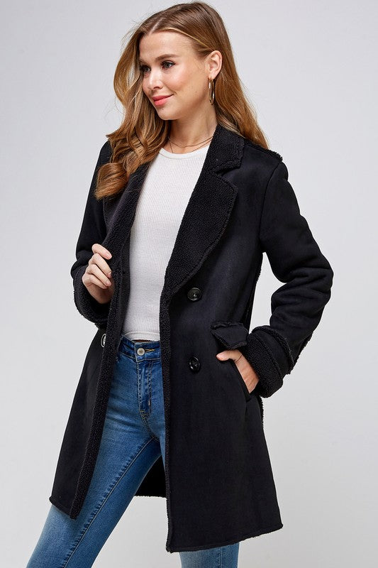 Fur Suede Long Coat