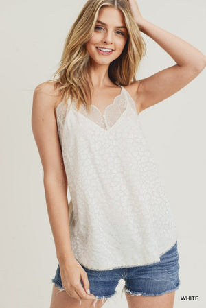 Leopard Print Race Back Lace Trim Cami Tank Top - White