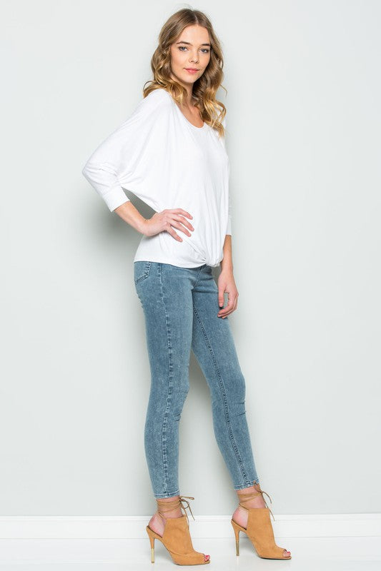Front Knot Top - Ivory