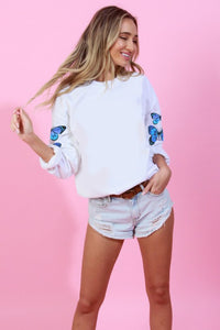 Butterfly Printed Top - Off White