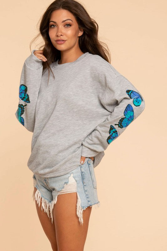 Butterfly Printed Top - H Grey