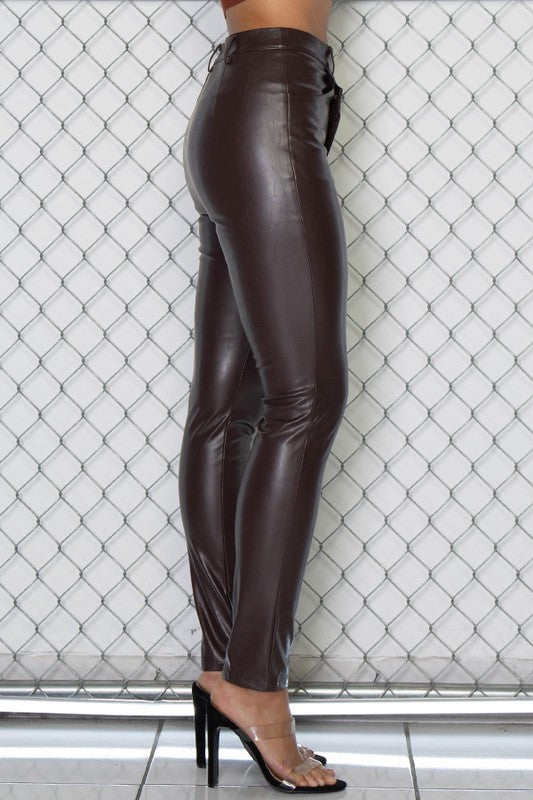Asymmetric Hem Vegan Leather Pants