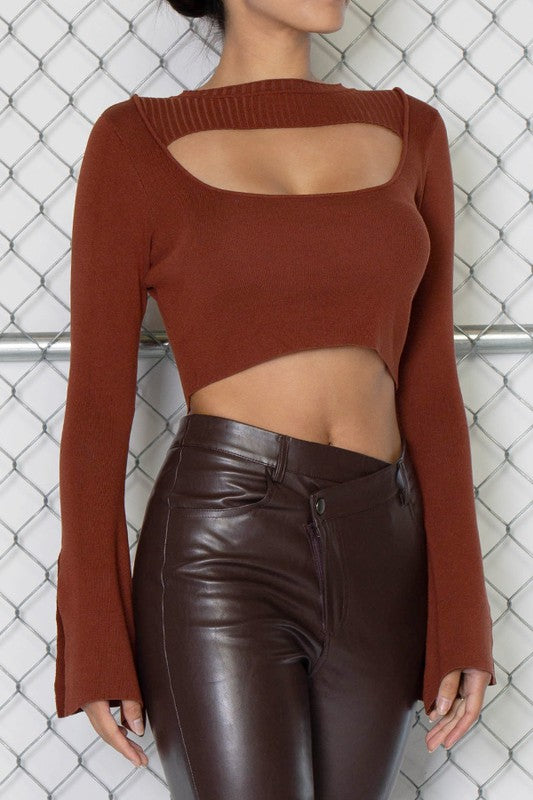 Bell Slit Sleeve Crop Sweater