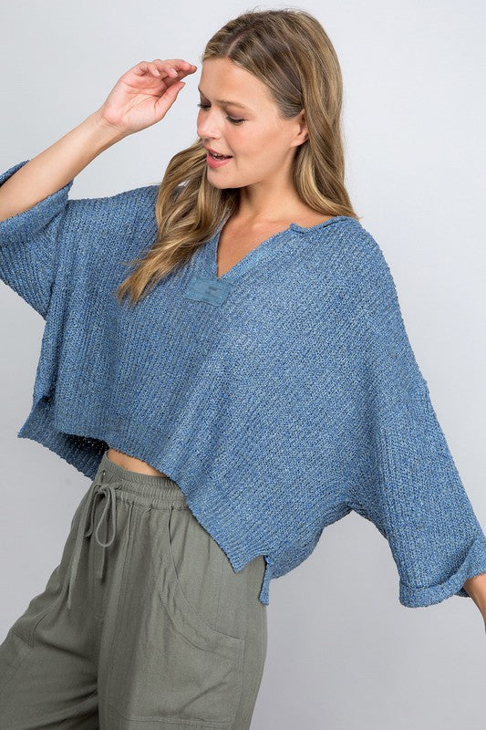 Cropped Sweater - Denim