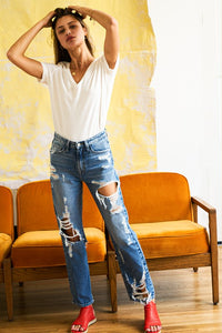 Super High Rise Tattered Ankle Straight Leg Jeans