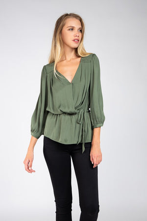 Peplum Top with Smocking Detail - Green