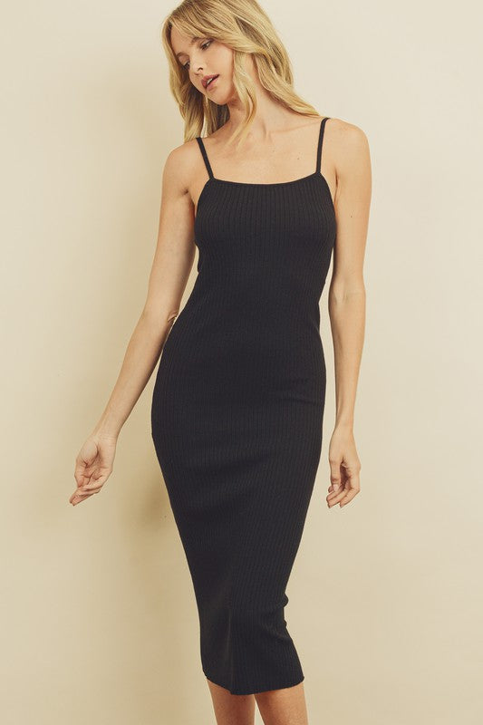 Ribbed Bodycon Dress - Black