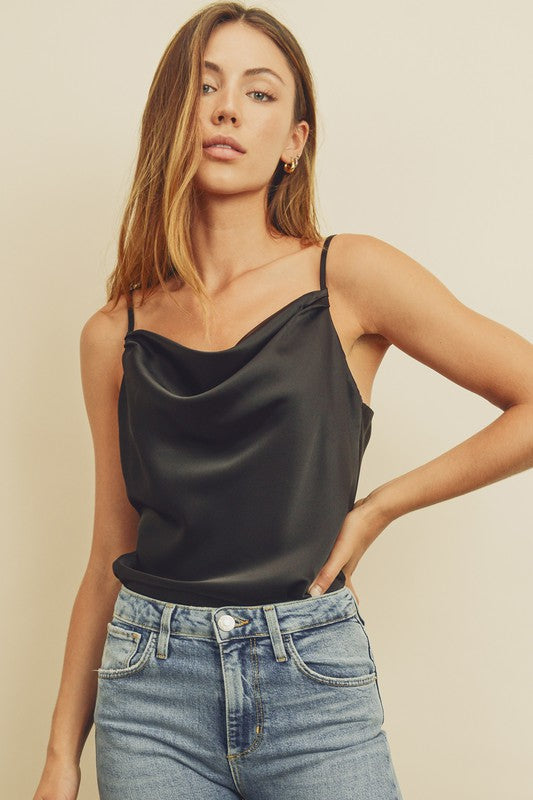 Satin Cowl Neck Cami Bodysuit - Black