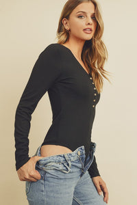 V-Neck Long Sleeve Bodysuit - Black