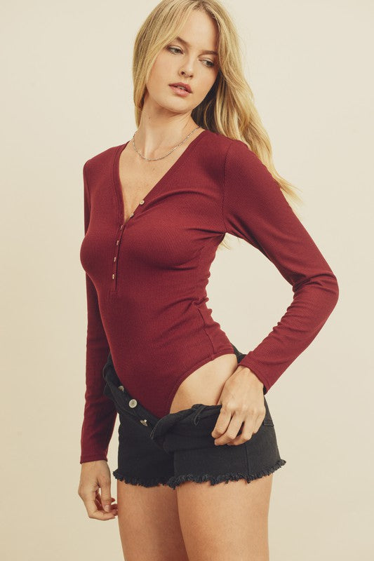 V-Neck Long Sleeve Bodysuit - Wine