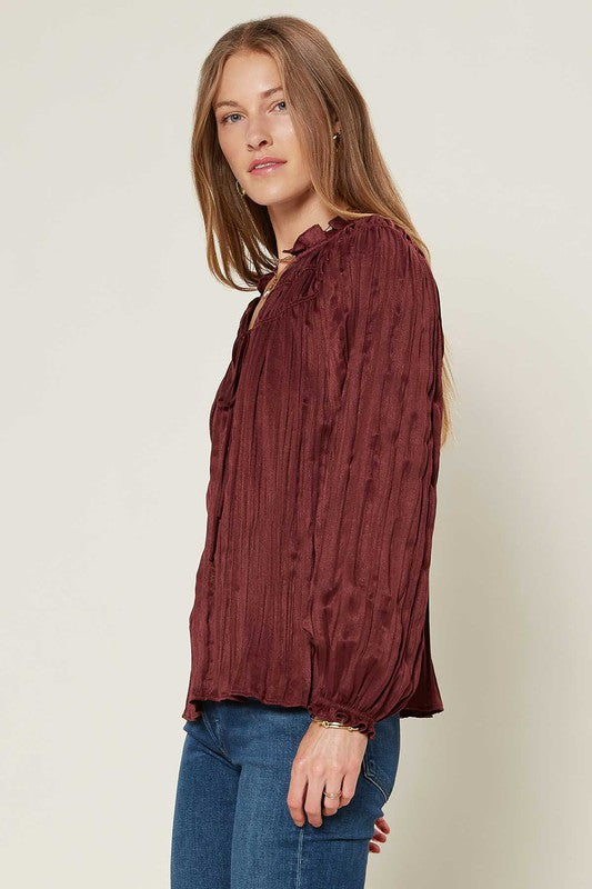 Crinkle Blouse with Neck Tie
