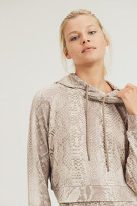 Sepia Snake Cropped Hoodie Pullover