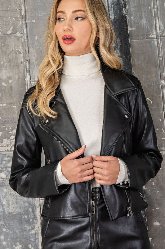 Vegan Leather Moto Jacket - Black