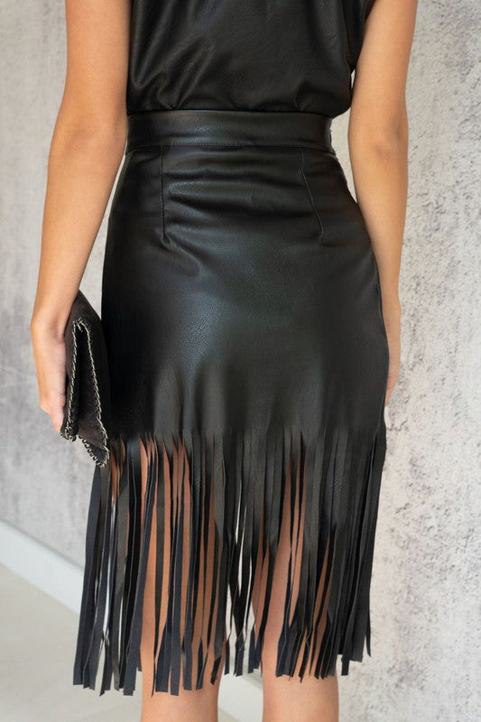 Vegan Leather Fringed Skirt - Black
