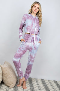 Tie Dye Joggers - Purple Grey
