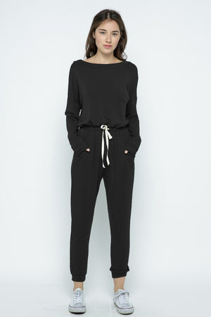 French Terry Boat Neck Jumpsuit