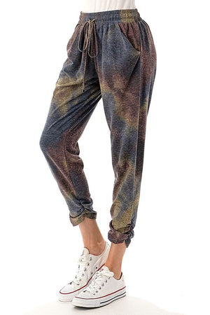 Ruched Bottom Jogger Pants - Brown