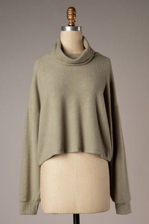 Turtleneck Knit Top - Olive Grey