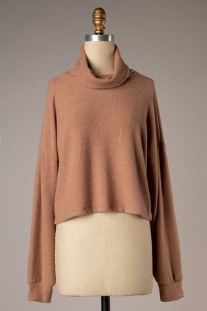Turtleneck Knit Top - Camel