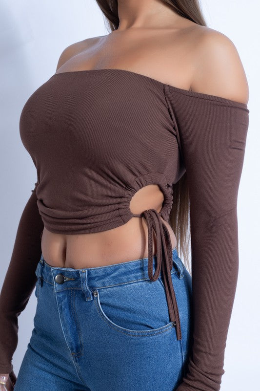 Knit Side Detail Top - Chocolate