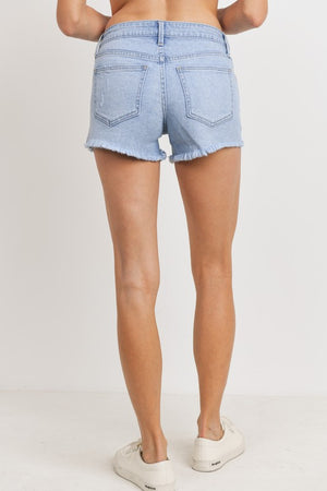 Detroyed Mid Rise Shorts - Medium Denim