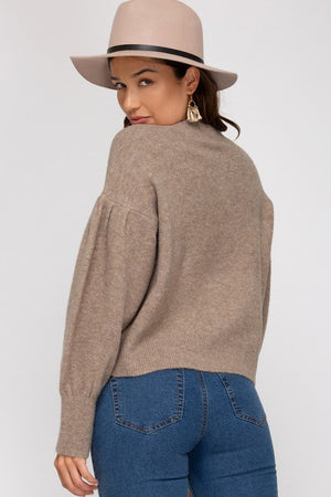 Balloon Sleeve Sweater - Lt Mocha