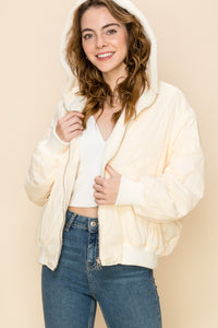 Reversible Bomber Jacket - Cream