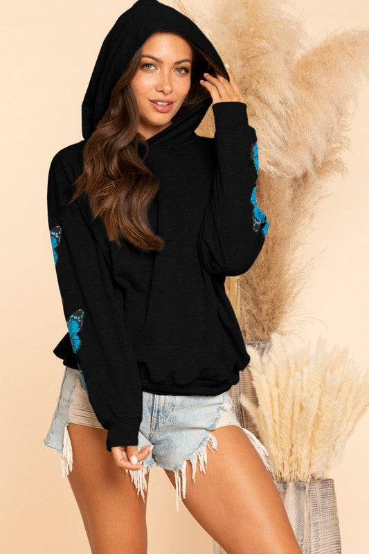 Butterfly Hooded Top - Black