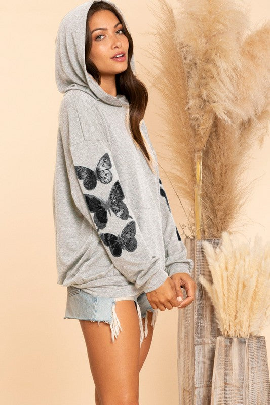 Butterfly Hooded Top  - H Grey