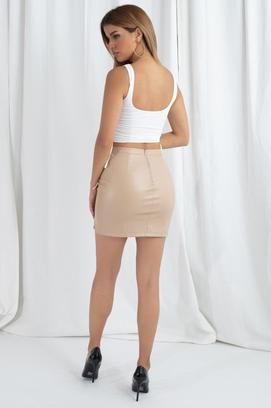 Front Zipper Detail Skirt - Desert